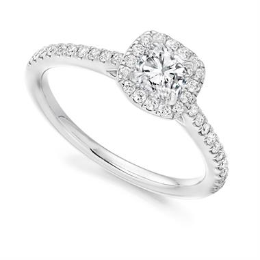 Platinum Cushion Cut 0.58ct Diamond Halo Ring thumbnail