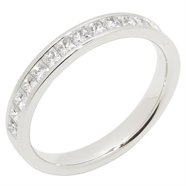 Platinum Princess Cut 0.75ct Diamond Half Channel Ring thumbnail