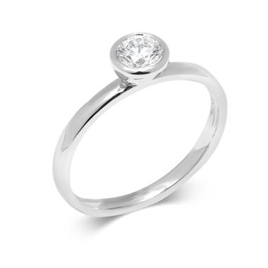 Platinum Rubover Detail Solitaire Diamond Engagement Ring 0.40ct thumbnail