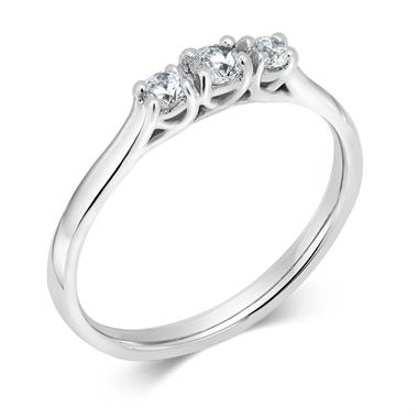 Platinum Diamond Three Stone Engagement Ring 0.25ct thumbnail