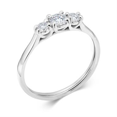 Platinum Round 0.33ct Diamond Three Stone Ring thumbnail