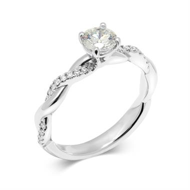 Platinum Plait Design Diamond Solitaire Engagement Ring 0.64ct thumbnail