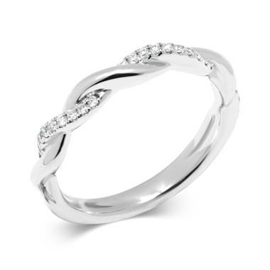 Platinum Double Row Diamond Plaited Ring thumbnail
