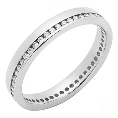 Platinum Modern Full Diamond Channel Ring thumbnail