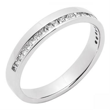 Platinum Modern Diamond Half Channel Wedding Ring thumbnail