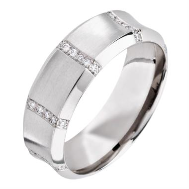 Platinum Contemporary Concave Diamond Ring thumbnail
