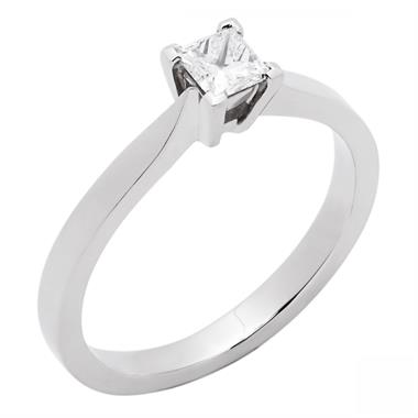 Platinum Classic Princess Cut 0.33ct Diamond Solitaire Ring thumbnail