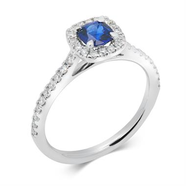 Platinum Cushion Cut Sapphire and Diamond Ring thumbnail