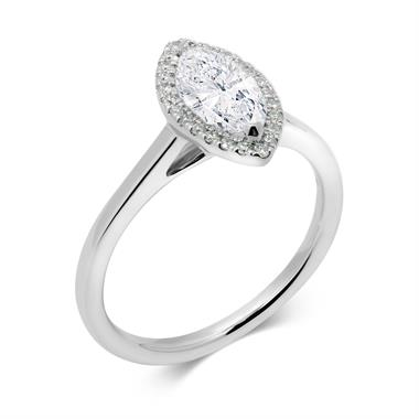 Platinum Marquise Cut Diamond Halo Ring thumbnail