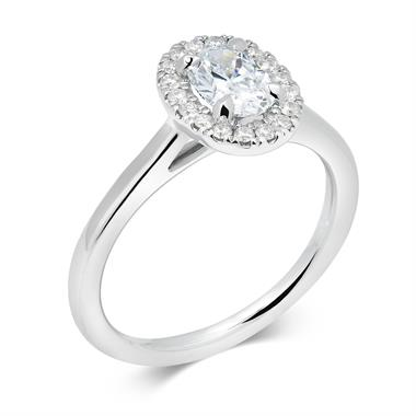 Platinum Oval Cut Diamond Halo Ring thumbnail