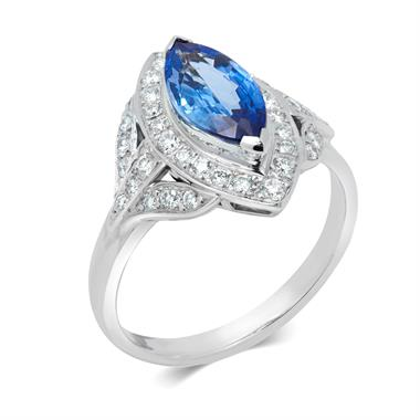 Platinum Marquise Cut Sapphire and Diamond Ring thumbnail