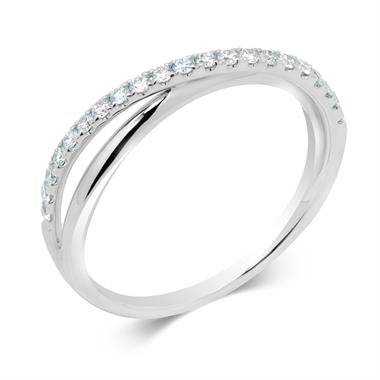 18ct White Gold Crossover Design Diamond Dress Ring 0.21ct thumbnail