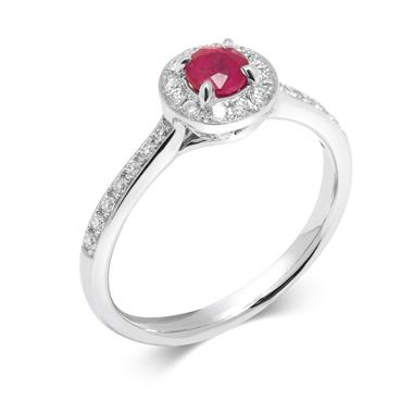 Camellia 18ct White Gold Ruby Halo Ring thumbnail