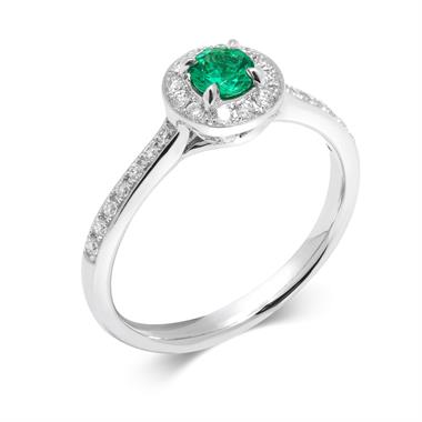 Camellia 18ct White Gold Emerald and Diamond Halo Engagement Ring thumbnail