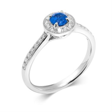 Camellia 18ct White Gold Sapphire Halo Ring thumbnail