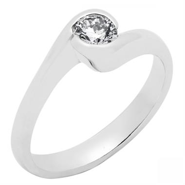18ct White Gold Modern Rubover Diamond Twist Solitaire Ring thumbnail