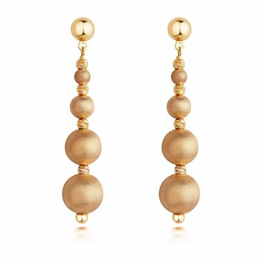 Milano 18ct Yellow Gold Satin Finish Drop Earrings thumbnail