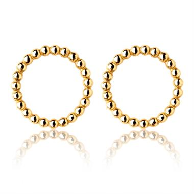 Aura 18ct Yellow Gold Ball Circle Earrings thumbnail