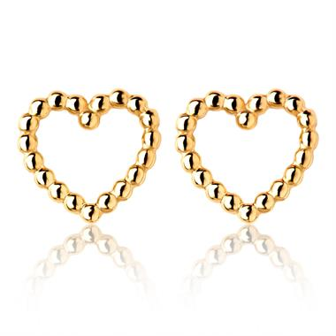 Aura 18ct Yellow Gold Heart Shape Stud Earrings 8mm thumbnail