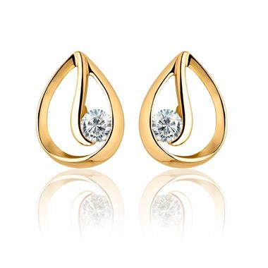Mon Coeur 18ct Yellow Gold Diamond Stud Earrings thumbnail