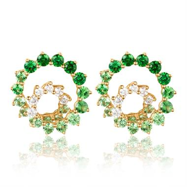 Enigma 18ct Yellow Gold Green Tsavorite and Diamond Stud Earrings thumbnail