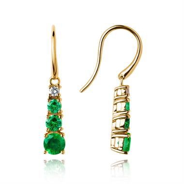 Bonbon 18ct Yellow Gold Tsavorite and Diamond Drop Earrings thumbnail