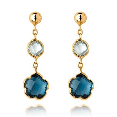Bloom 18ct Yellow Gold Blue Topaz Drop Earrings thumbnail