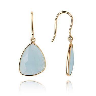 Lara 18ct Yellow Gold Aquamarine Drop Earrings thumbnail