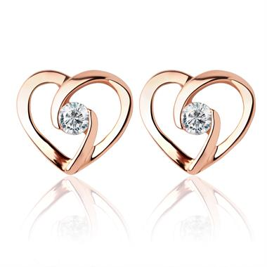 Mon Coeur 18ct Rose Gold Diamond Stud Earrings thumbnail