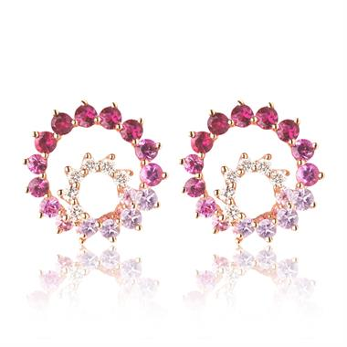Enigma 18ct Rose Gold Ruby, Pink Sapphire and Diamond Stud Earrings thumbnail