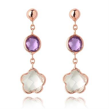 Bloom 18ct Rose Gold Amethyst Drop Earrings thumbnail