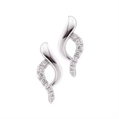18ct White Gold Crossover Design Diamond Stud Earrings thumbnail