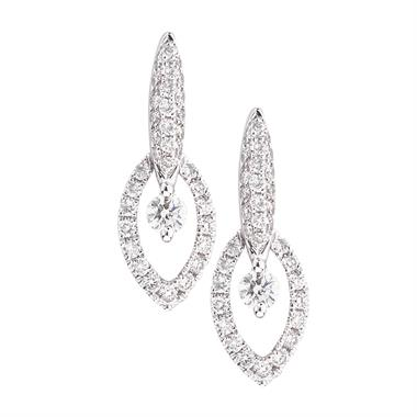 18ct White Gold Vintage Style Diamond Drop Earrings thumbnail