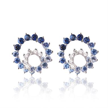 Enigma 18ct White Gold Blue Sapphire Earrings thumbnail