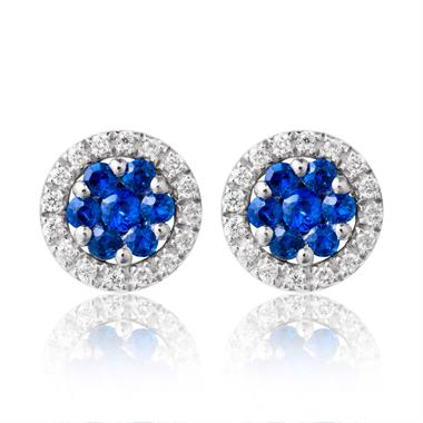 18ct White Gold Sapphire and Diamond Cluster Earrings thumbnail