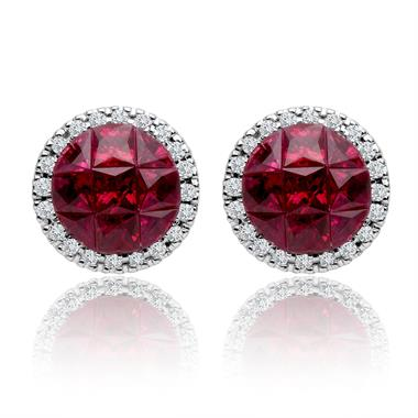 18ct White Gold Mosaic Ruby and Diamond Earrings thumbnail
