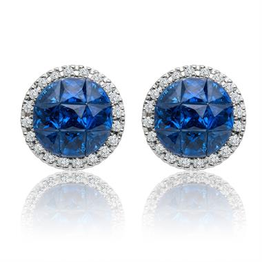 Mosaic 18ct White Gold Sapphire and Diamond Earrings thumbnail