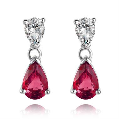 18ct White Gold Pear Shape Ruby and Diamond Drop Earrings thumbnail