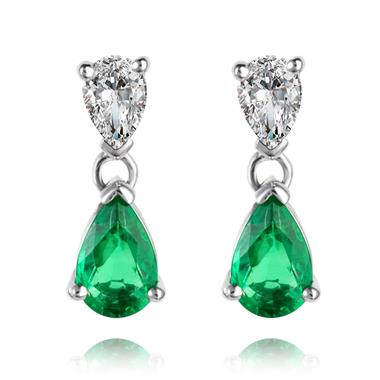 18ct White Gold Pear Shape Emerald and Diamond Drop Earrings thumbnail