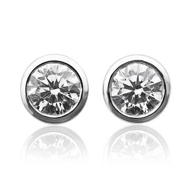 18ct White Gold Rubover 1.00ct Diamond Solitaire Stud Earrings thumbnail