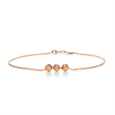 18ct Rose Gold Three Beads Bracelet thumbnail