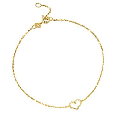 9ct Yellow Gold Heart Bracelet thumbnail