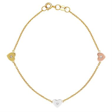 9ct Yellow Gold Diamond Heart Bracelet thumbnail