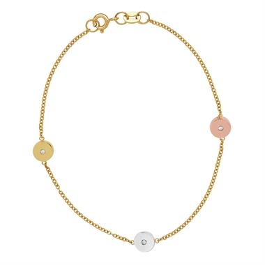 9ct Yellow Gold Circle Diamond Bracelet thumbnail