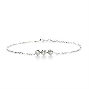 18ct White Gold Three Beads Bracelet thumbnail