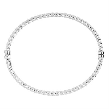 9ct White Gold Twisted Hinged Bangle thumbnail