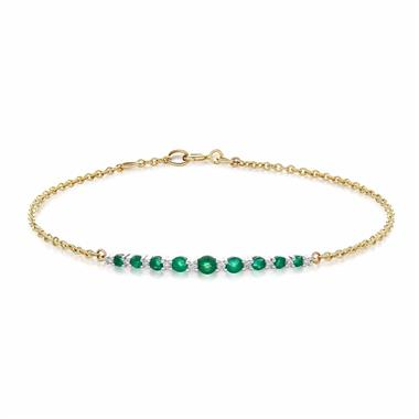 18ct Yellow Gold Emerald and Diamond Bracelet thumbnail
