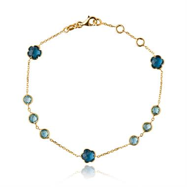 Bloom 18ct Yellow Gold Blue Topaz Bracelet thumbnail