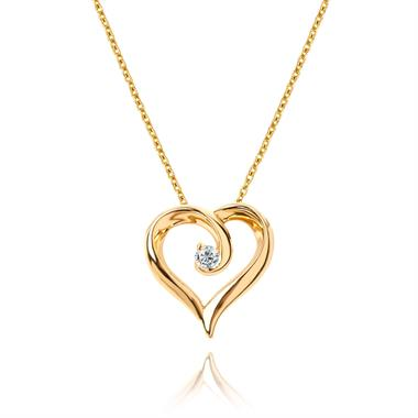 18ct Yellow Gold Diamond Swirling Heart Pendant thumbnail