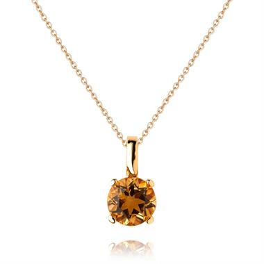 18ct Yellow Gold Citrine Solitaire Pendant thumbnail
